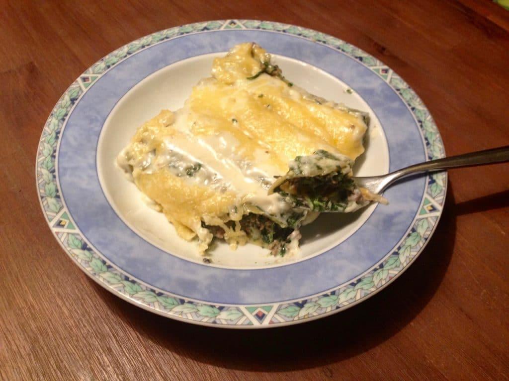 Cannelloni met gehakt en spinazie