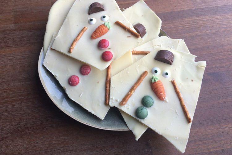 Melted snowman chocolate bark - My happy kitchen