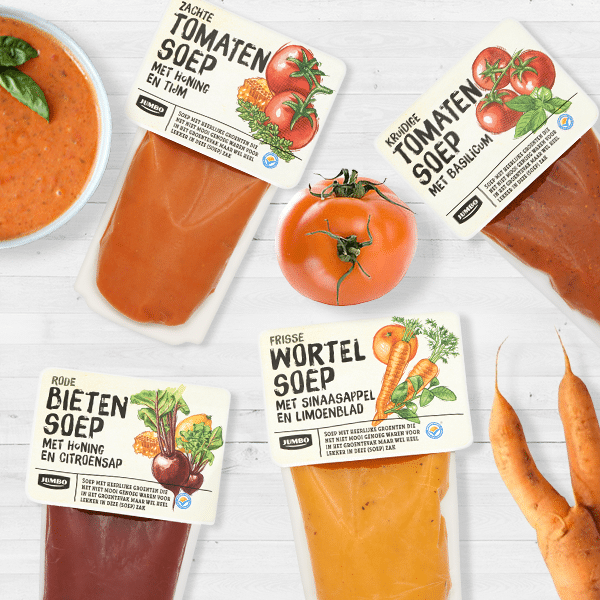 Jumbo soep misvormde groenten