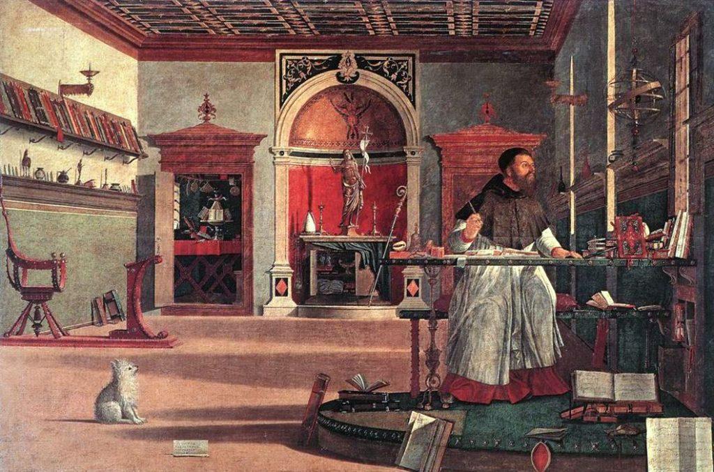 Schilderij van Vittore Carpaccio: visione di Sant'Agostino