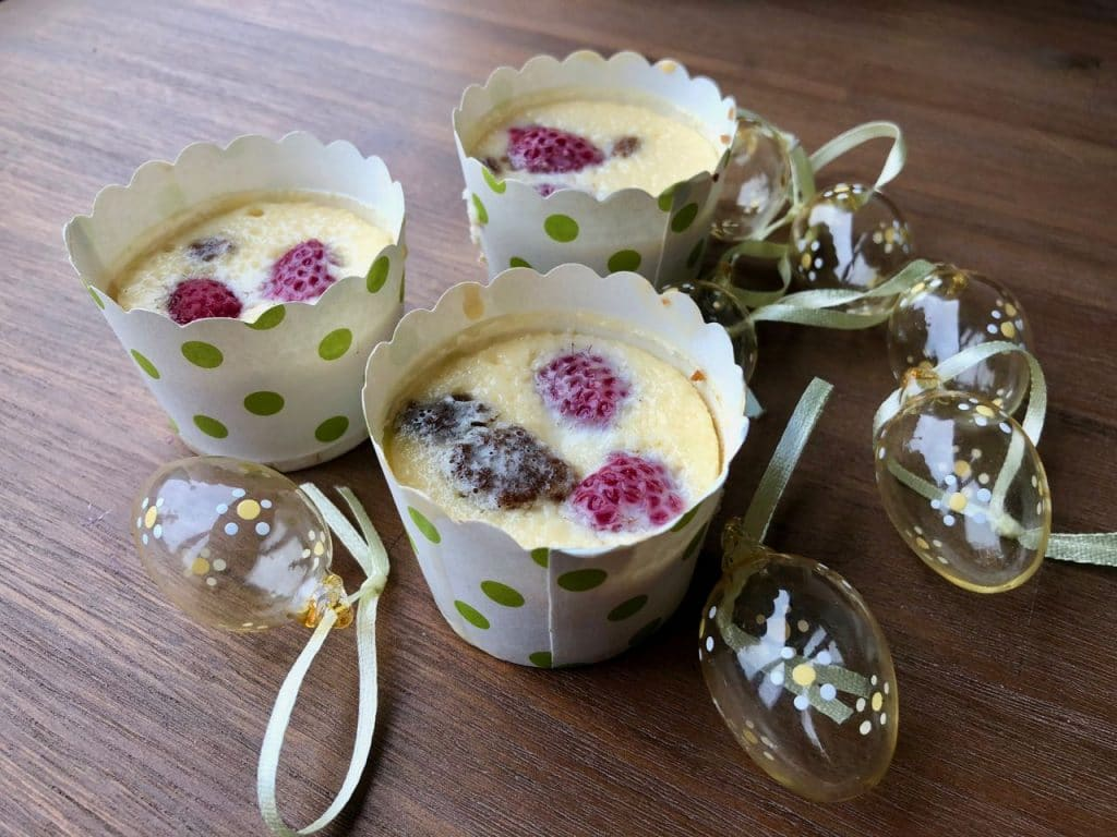 mini cheesecake met frambozen