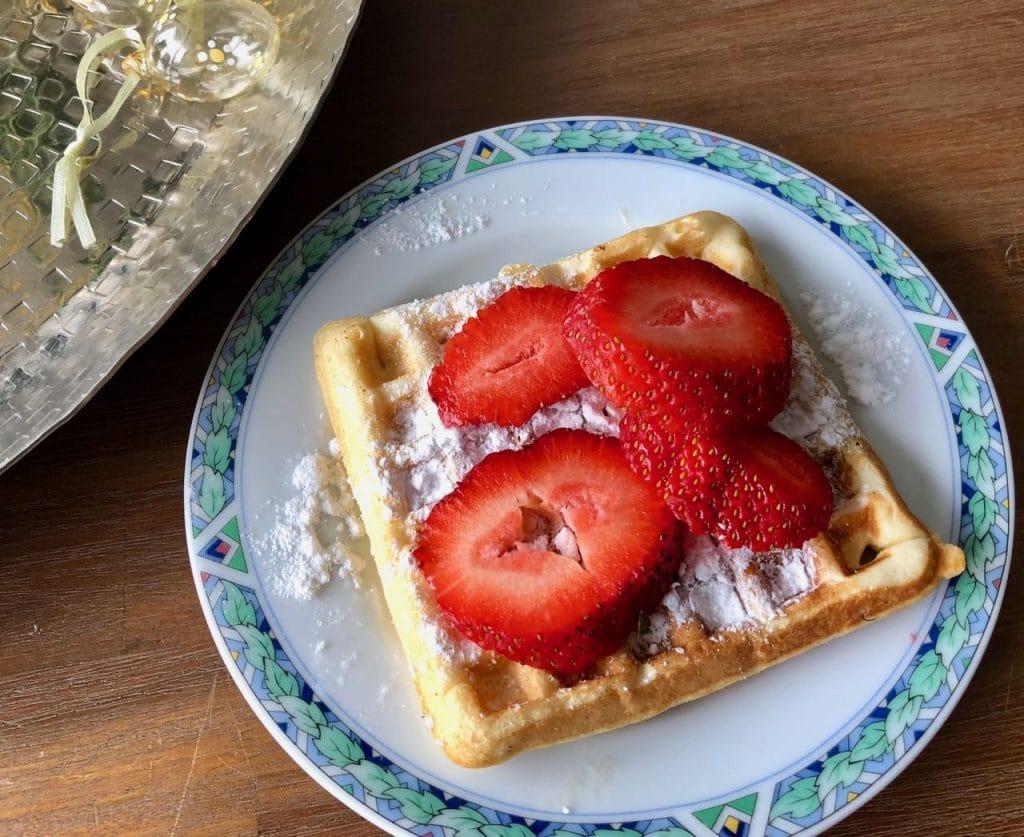 Wafels met aardbeien