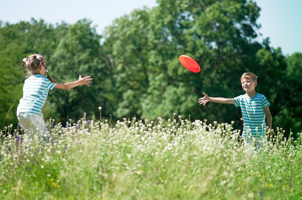 autoreis met kinderen - frisbee
