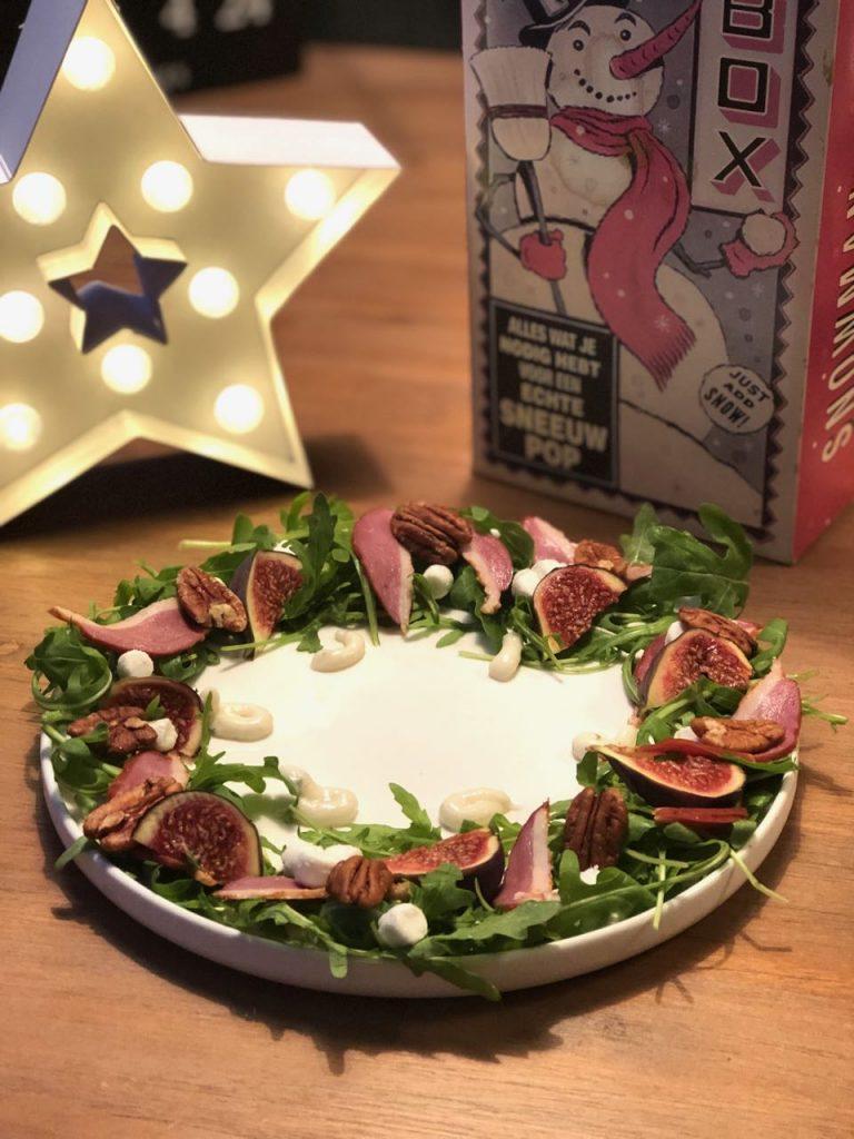 salade met gerookte eendenborst en vijgen