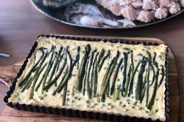 Quiche met groene aspergepunten en feta