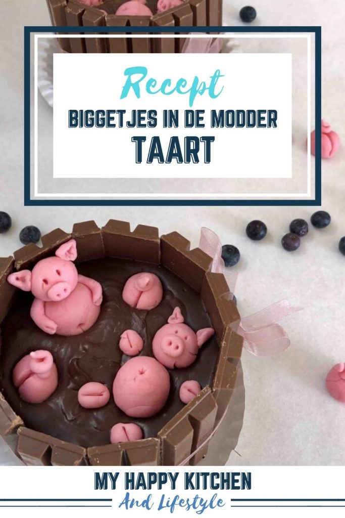Pinterest pin biggetjes in de modder taart