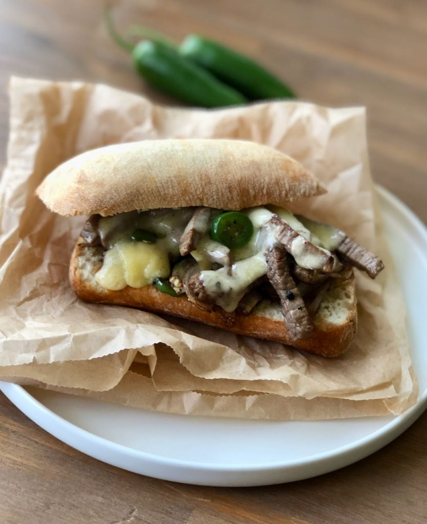 spicy philly cheesesteak sandwich