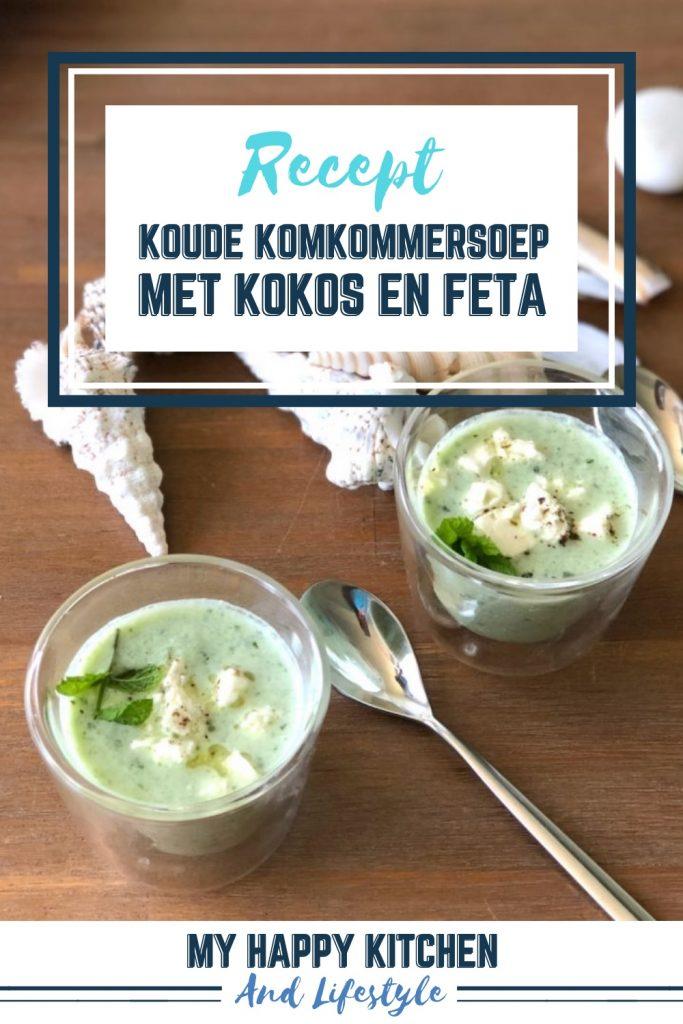 Koude komkommersoep met kokos en feta