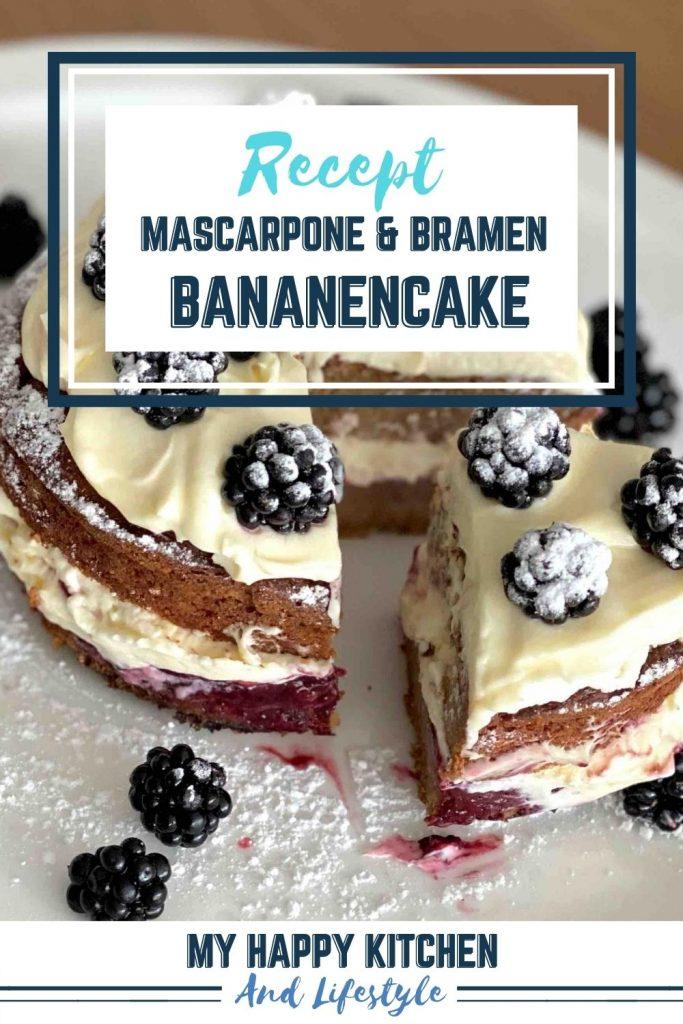 Pinterest pin Bananencake met mascarponeroom en bramen