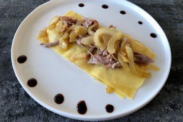 open lasagne met gekonfijte eendenbout