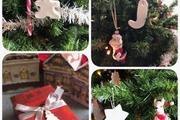 kerstdecoraties van zelfgemaakte klei