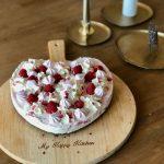 Frambozen kwarktaart met meringue voor Valentijn