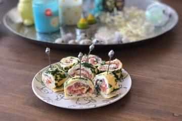 omeletrol met kruidenroomkaas en zalm