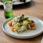 Pappardelle met aspergepesto en burrata