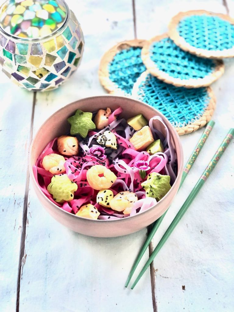 Pink noodle bowl