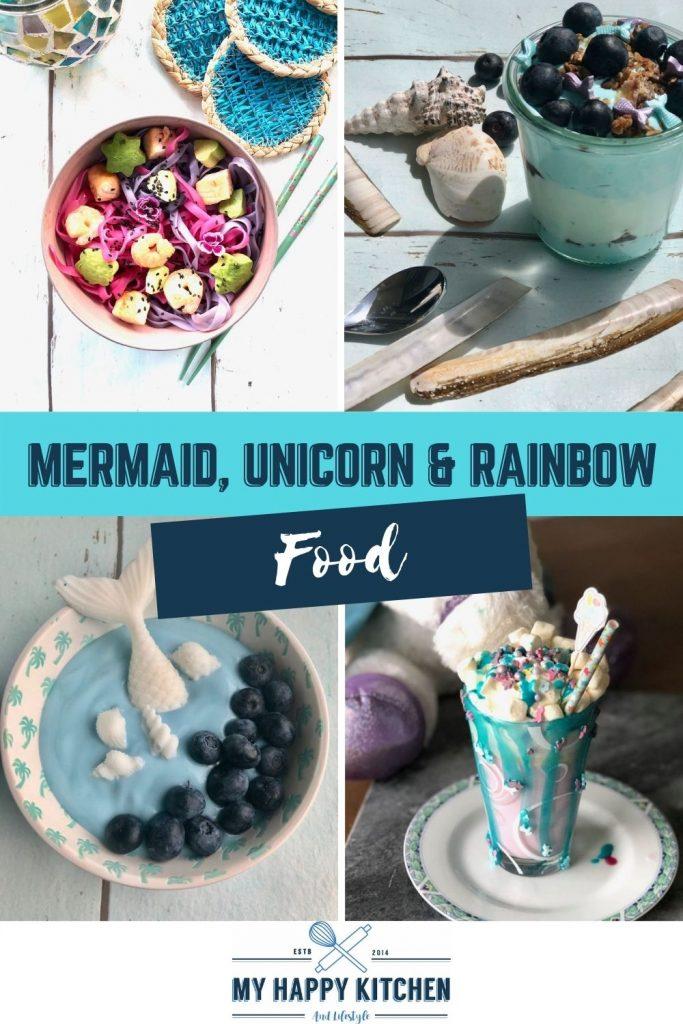 Mermaid, unicorn en rainbow food